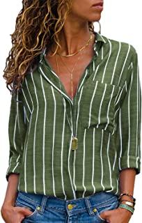 Women's Stripes Button Down Shirts Roll-up Sleeve Tops V Neck Casual Work Blouses