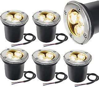 LED Landscape Lighting Sunriver 6 Pack Pathway Low Voltage Landscape Lights 3W In Ground Well Lights 12V-24V IP67 Waterproof Outdoor Lights for Driveway, Deck, Garden Lights (Warm White)