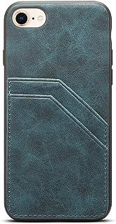 TACOO スリムレザーブラックケース iPhone 8/7用 薄く柔らかいポリウレタン製クレジットカードホルダー 保護用 女性 女の子 男性 丈夫なシェルカバー Apple iPhone 7 2016 4.7インチ、iPhone 8 2017 4.7インチに対応 ブルー