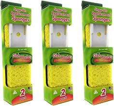 Arrow Home Products Dish Wand Sponge Refills, 3 Pack of 2 Snap on Replacement Sponges - BPA-Free Sponge Replacement Head, 6 Pieces Total
