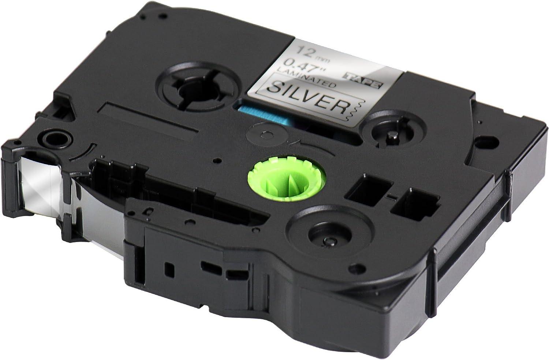 12mm x 8m nero sur argenteria TZ 931 Nastro Laminato per BROTHER P-Touch TZe 931 compatibile per Brother P-Touch Label Tape