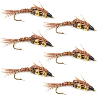 Double Bead Pheasant Tail Nymph Fly Fishing Flies - Trout and Bass Wet Fly Pattern - 6 Flies Hook Size 10