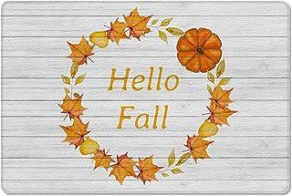 Meet 1998 Leather Doormat Thanksgiving Pumpkin Maple Leaf Autumn Non-Slip Rubber Floor Mats Wood Plank Durable Outdoor Ent...