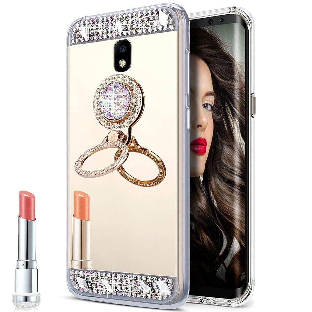 Galaxy J7 Pro Case,Galaxy J7 Pro Mirror Case, Slim Luxury Rhinestone Diamond Glitter Bling Mirror Back Soft TPU Bumper Protective Case with Ring Stand Holder for Galaxy J730 J7 Pro (2017),Gold
