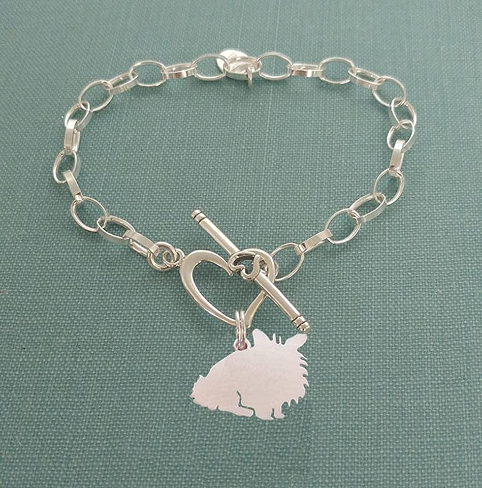 .925 Sterling Silver Lionhead Rabbit Chain Bracelet with Heart Toggle Pet Memorial Jewelry