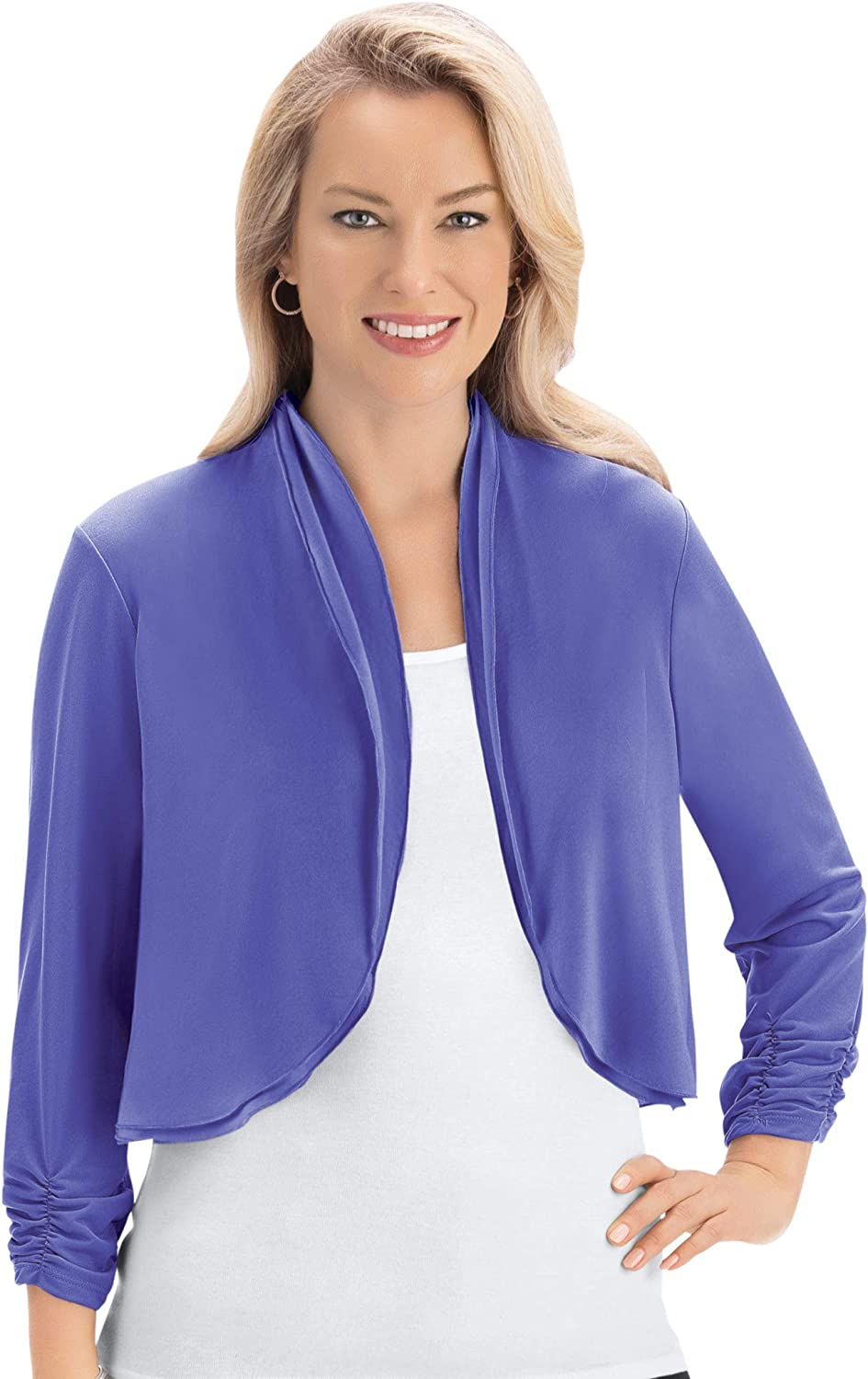 Cinched Sleeve Open Front Layering Cardigan Shrug Top for Wearing with Dresses & Tank Tops