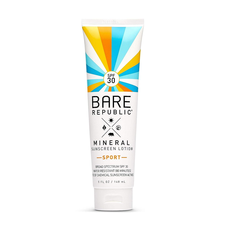 Bare Republic Sport Mineral Sunscreen & Sunblock Body Lotion with Zinc  Oxide, Broad Spectrum SPF 20, Vanilla Coco, 20 Fl Oz