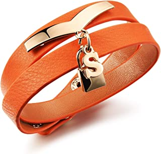 Wide version of multilayer retro for women cowhide rope hand Rose gold plated pendant bracelet PH1008/Orange