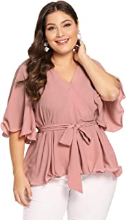 Romwe Women's Plus Size Short Sleeve Deep V Neck Self Belted Casual Peplum Wrap Blouse