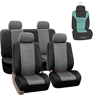 Best FH Group PU002114 Premium PU Leather Seat Covers (Gray) Full Set with Gift – Universal Fit for Cars Trucks and SUVs Review
