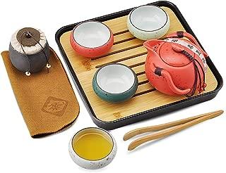 Portable Travel Tea set - Chinese/Japanese Porcelain Gongfu Tea Set, Traditional Tea Ceremony Set with Tea Can,Teapots, Teacups, Bamboo Tea Tray and Travel Bags