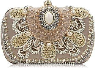 Shoulder Bag Elegant Women's Beaded Diamond Dinner Bag Clutch Bag High-Grade Beaded Banquet Dress Vintage Cheongsam Bag Chain Handbag Clutch (Color : Gold)
