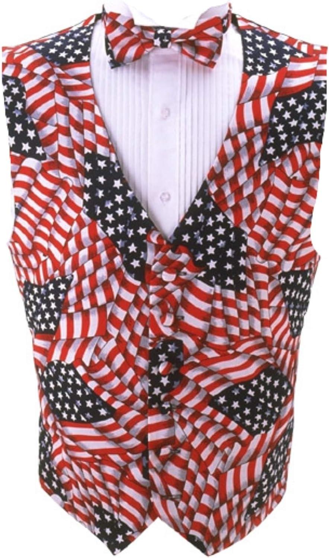 Wavy USA Flag Tuxedo Vest and Bow Tie Size Xlarge Long