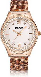 ETEVON Women's Quartz Leopard Mesh Rhinestone Watch with Crystal Rose Gold Case Stainless Steel Waterproof, Unique Fashion Watches for Women Ladies