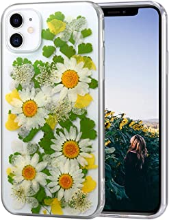 AHTONG iPhone 11 Flower Case, Girls Floral Design Pressed Dry Real Flowers Case [Drop Protection] Soft Clear Flexible Rubber Bumper Cover for iPhone 11 (Daisy Yellow)