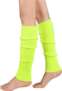 Leg Warmers for Women Girls 80s Ribbed Leg Warmer for Neon Party Knitted Fall Winter Sports Socks