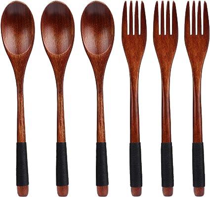 TsunNee Juego de tenedor de cuchara de madera natural, con mango largo, cubiertos estilo Janpanese, para camping, cocina al aire libre, cocina, ...