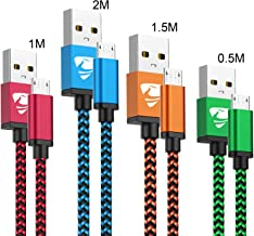 Cable Micro USB Aioneus 4 Pack [0.5M 1M 1.5M 2M] Carga Rápida Cable Android Duradero Nylon Cable Cargador Movil para Samsung S5/S6/S7/J5/J7 Huawei Nokia Nexus Sony Tablet PS4 Kindle