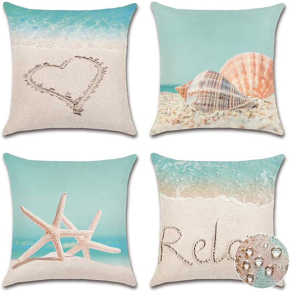 OTOSTAR Waterproof Summer Decorations Outdoor Throw Pillow Covers Linen Starfish Shell Pillow Covers Pack of 4 Square Cushion Case Garden Pillowcase 18x18 Inch for Patio Furniture Couch Tent (Beach)