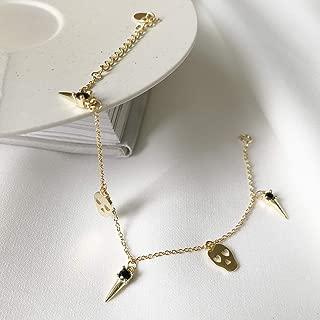S925 Sterling Silver Black Zircon Skull Head Bracelet