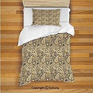 SoSung Paisley Decor Kids Duvet Cover Set Twin Size, Traditional Asian Pattern with Flowers Leaves with Stripes Artwork 2 Piece Bedding Set with 1 Pillow Sham,Brown Black and White