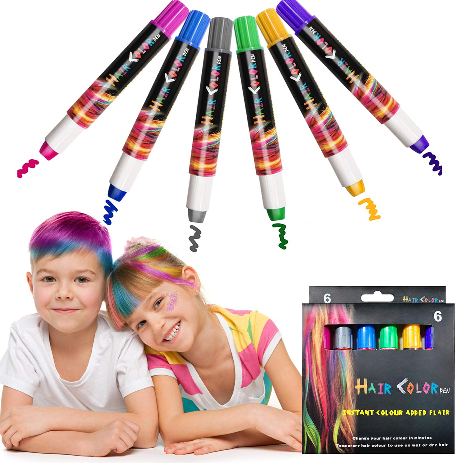 Kalolary 6 Color Temporary Hair Chalk for Party Birthday Pens Boston Excellence Mall H