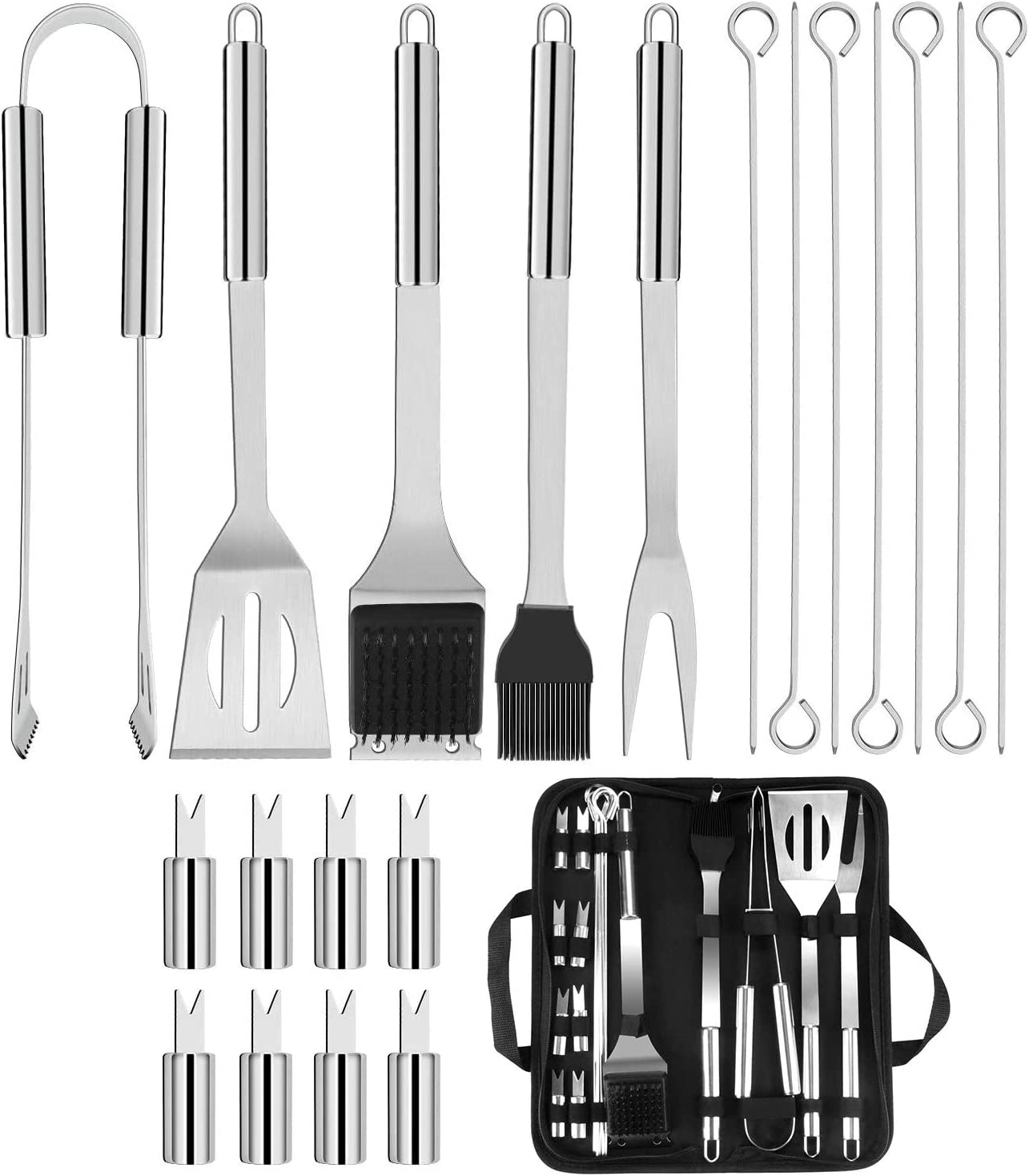 BBQ Tools Set for Picnics Complete Outdoor Barbecue Grill Utensils Set BBQ Barbecue Tool Set 20 Pcs Stainless Steel Barbecue Accessories with Storage Bags Camping and Outdoor Activities Travel