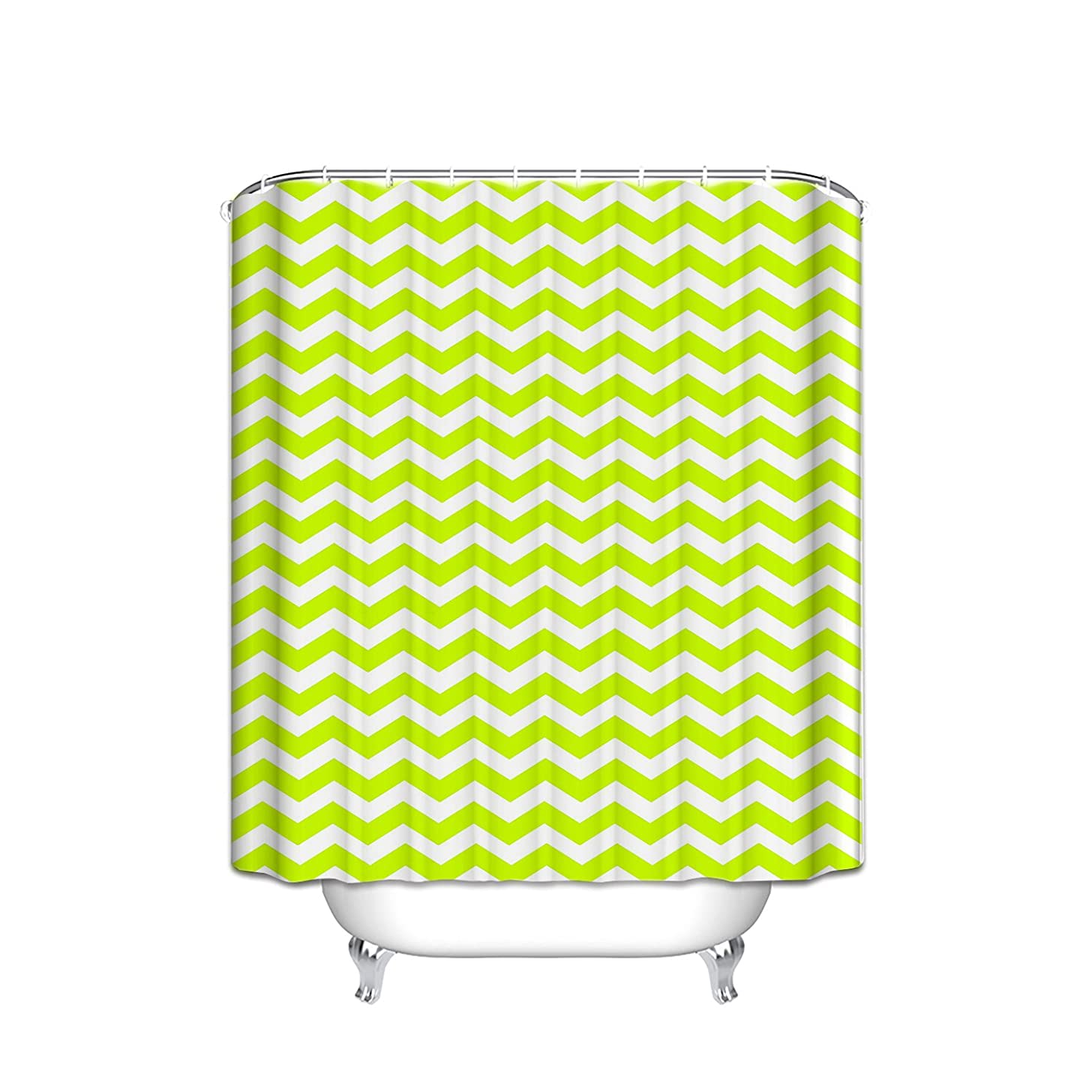 JANNINSE Geometric Patterned Waterproof 100% Polyester Fabric Long Shower Curtain For Bathroom,Fluorescent Green Zig Zag Stripes Pattern Print Design, 60