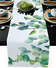 Burlap Table Runner 120 Inches Long, Green Leaf Watercolor Eucalyptus Leaves and Branches Table Runners for Dining Table W...