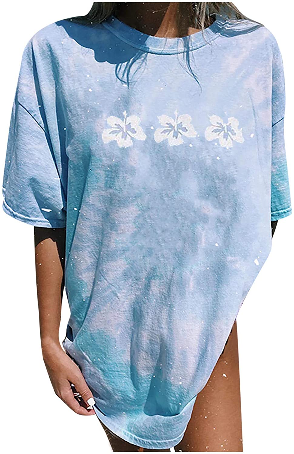 Women's Summer Vintage Sun and Moon Printed Tie-dye T-Shirt Casual Short Sleeve Tops Loose Plus Size Blouses