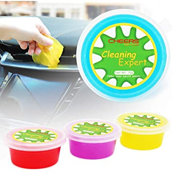 Cheers 4-Pack Car Interior Detailing Cleaner Universal Dust Cleaning Gel for PC Tablet Laptop Keyboards, Cameras, Air Vents -280g (Apple or Lemon or Grape or Blueberries)