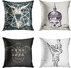 Sgvsdg Set of 4 Throw Pillow Covers 16 x 16 Inch Rock Zombie Hand Heavy Metal Sign Skull Goat Pentagram Splashes War Helmet Crossbones Drawing Style Vintage Grunge Bat Music Square Home Sofa Living