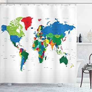 Ambesonne World Map Shower Curtain, Colorful Political Map Borders Between Countries Different Nations and Cultures, Cloth Fabric Bathroom Decor Set with Hooks, 70