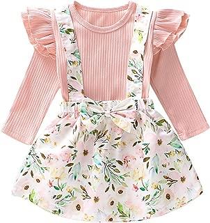 0-6T Baby Girls Long Sleeve Tops T-Shirt Romper Floral Skirt Dress Outfit Set for Infant Toddler