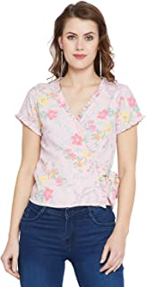 AASK Women's Peach and Multicolor Floral Printed Crepe Wrap Top (US_1270)