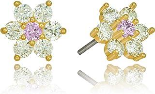 Lifetime Jewelry Cubic Zirconia 9mm Flower Stud Earrings 24k Real Gold Plated