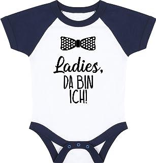 Kleckerliese Baby Body Baseball Kurzarm Sprüche Jungen Mädchen Motiv Ladies, da Bin ich