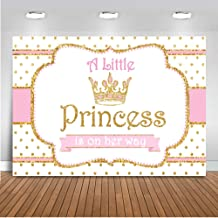 Mocsicka Little Princess Photo Backdrop 7x5ft Vinyl Gold Dots Crown Baby Shower Photography Background Little Princess is on Her Way Photo Backdrops