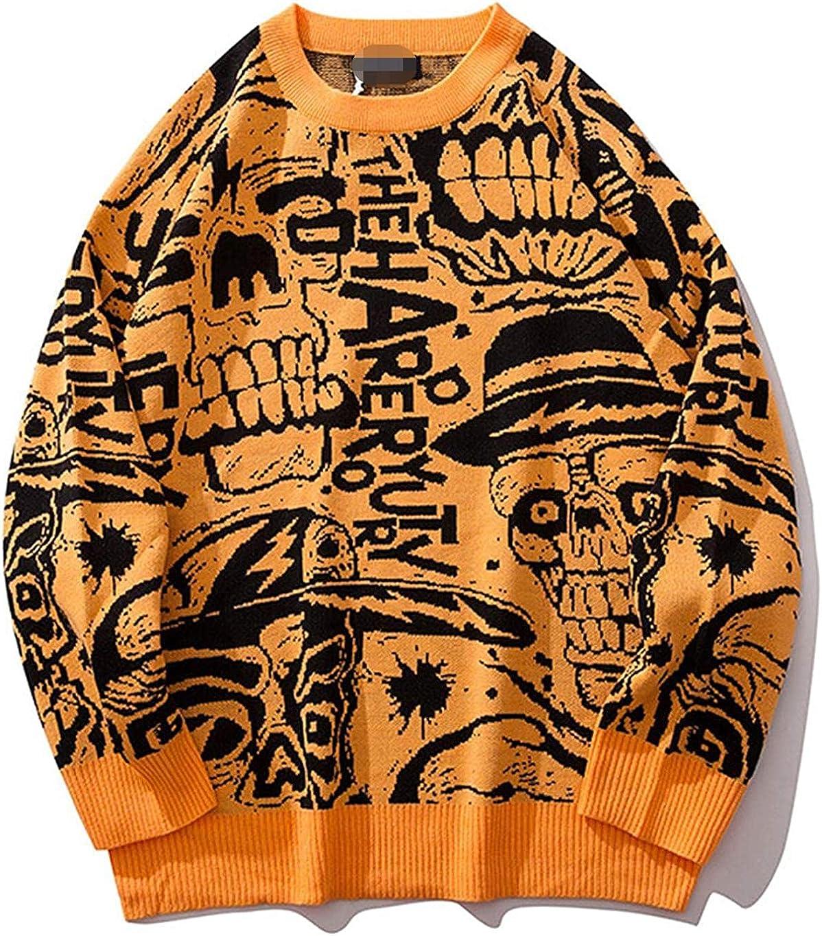 Nanoki Mens Sweaters Skull Print Men Pullover Spasm price Streetwear Hip New item Hop