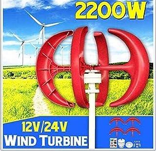 RDJM Turbina eólica Las turbinas de Viento generador, 1500/1200/1000 W turbinas de Viento generador de la Linterna 5 Cuchillas Motor Kit 12 24V de Eje Vertical for el hogar regulador híbrido/Farola +