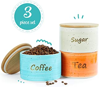 Uno Casa Ceramic Kitchen Canister Set with Airtight Lid - 3 Piece for Coffee Tea Sugar - 28 oz
