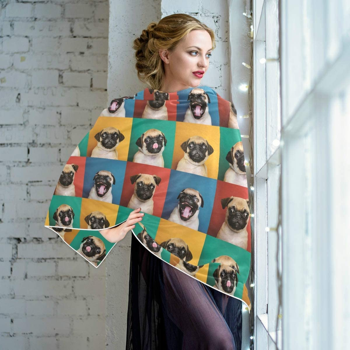 Scarf for Women and Men Cachorro Pug Shawl Wraps Blanket Scarf Warm soft Winter Oversized Scarves Lightweight