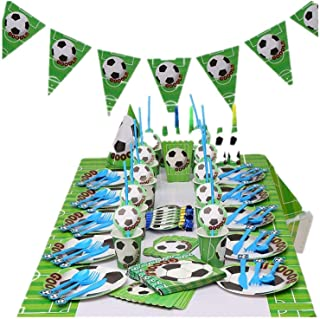 PAYOO Soccer Party Supplies Sports Themed Party Decoration for Boys 10 Guess 16 Pieces for Birthday Party Serves (A)