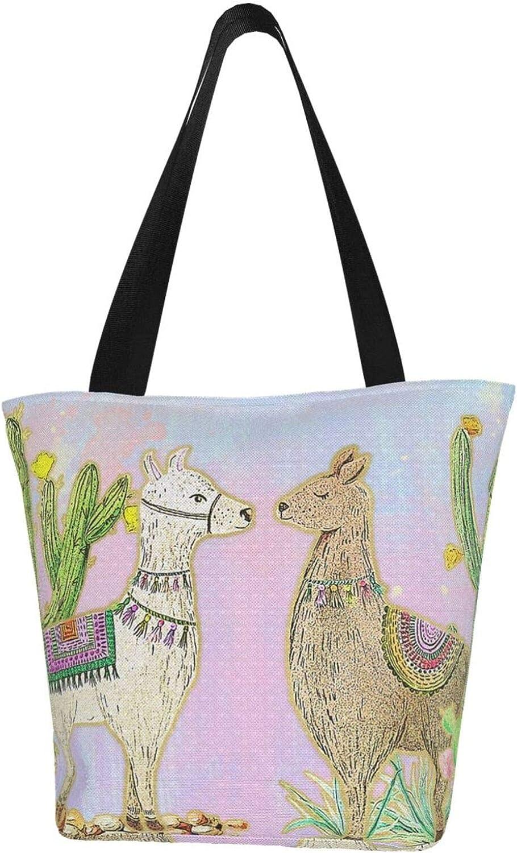 Llama Cute Cactus Kiss Themed Printed Women Canvas Handbag Zipper Shoulder Bag Work Booksbag Tote Purse Leisure Hobo Bag For Shopping