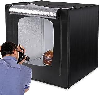 Amzdeal Caja de Luz Fotografia 80 x 80 x 80cm Kit Caja de Fotografia Portátil Plegable con 2 Tiras de LED 5500K + 3 Fondos (Blanco Negro Naranja) y Bolsa de Transporte para Estudio Fotografia