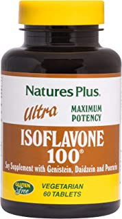NaturesPlus Ultra Isoflavone 100-100 mg, 60 Vegetarian Tablets - Soy Supplement, Menopause Symptom Relief, Naturally Reduc...