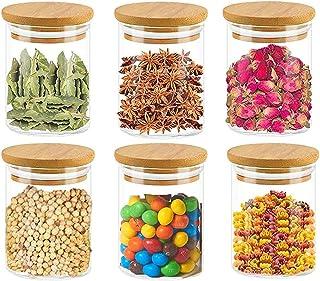 Annfly Lot de 6 bocaux en verre avec couvercles en bambou hermétiques pour cuisine, thé, café, grains, biscuits, collation...