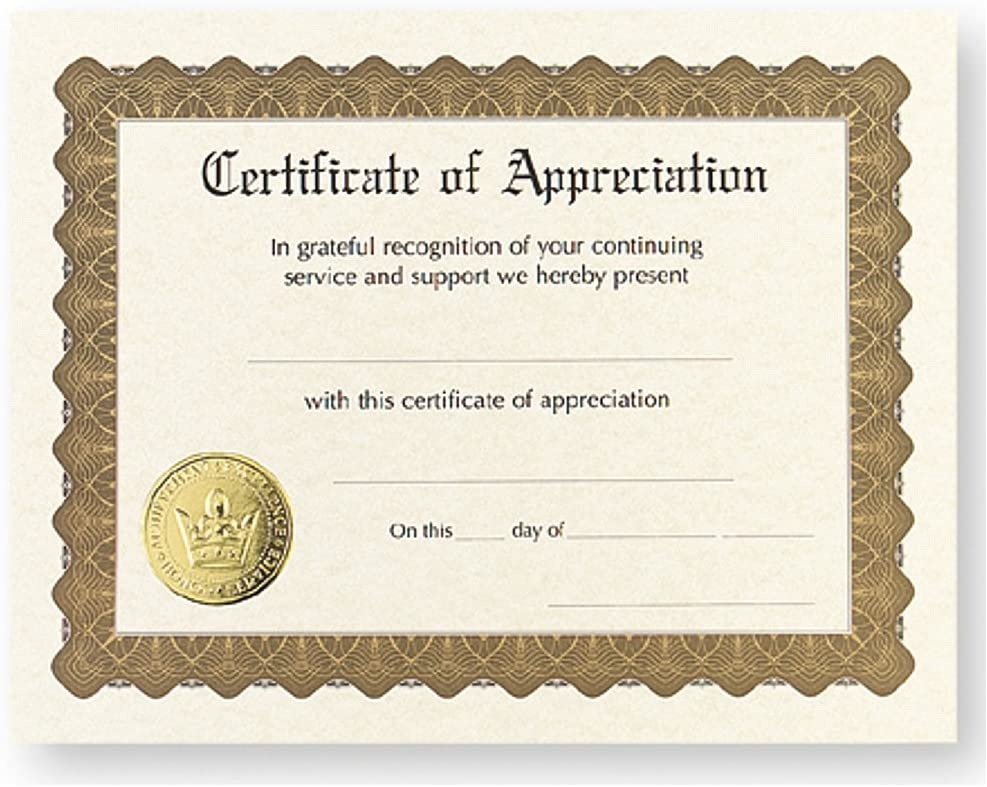 Certificate of Appreciation - All items in Genuine Free Shipping the store 36 Pack