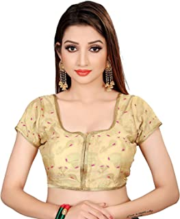 Ocean Fashion women's Brocade And Georgette Round Neck Gold Readymade Saree Blouses(Gold;medium)