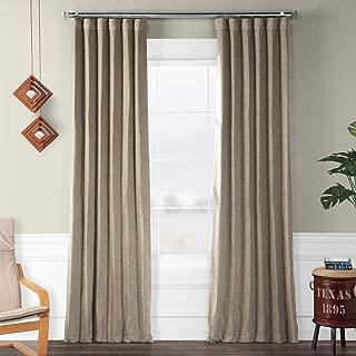 HPD HALF PRICE DRAPES BOCH-LN18511-108 Faux Linen Blackout Room Darkening Curtain, 50 X 108, Mink